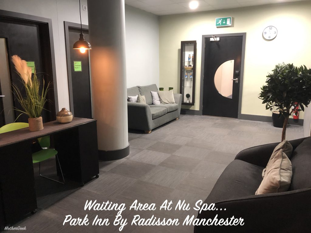 Reception and waiting area at NuSpa Park Inn By Radisson Manchester