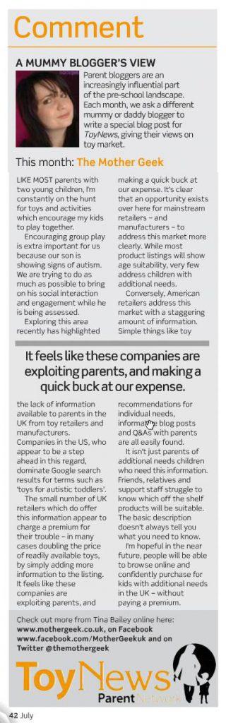MotherGeek In Print - toy news magazine