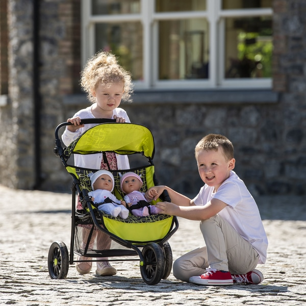 the importance of colour branding - yellow doll pram being played with by a boy and girl