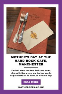 Hard Rock Mother's Day Menu Mother's Day gift ideas around Manchester.