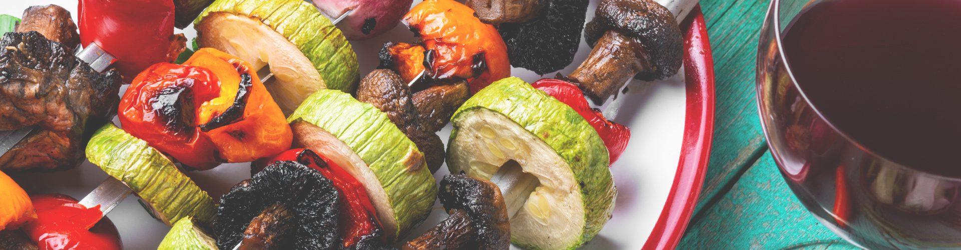 carnivore vs vegan diet - vegan skewers and wine