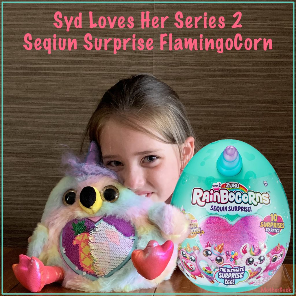 series 2 Rainbocorns Flamingocorn being held by a young girl