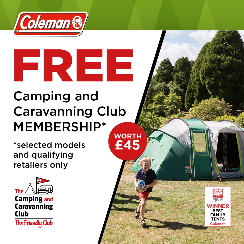 advert for  Free Camping and Caravanning Club Membership with Coleman