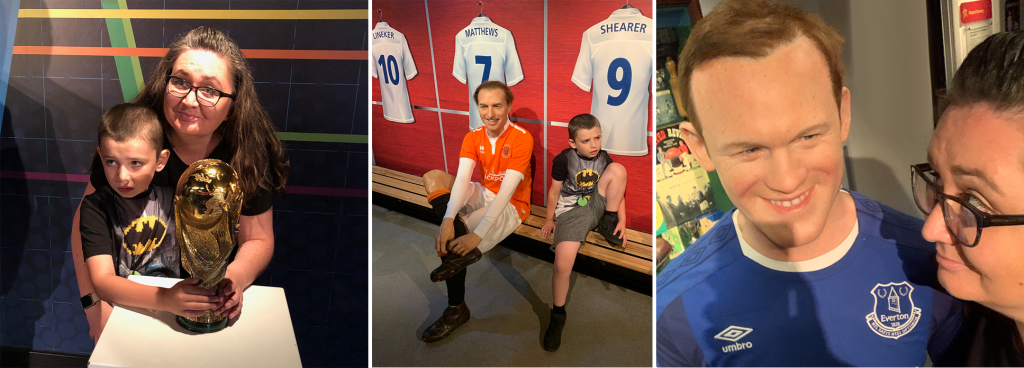 football at Sam and sir David Attenborough in Madame Tussauds Blackpool