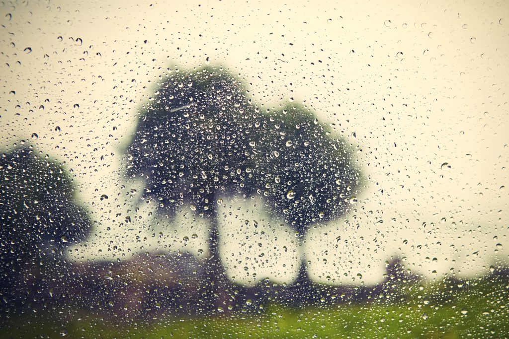 tips for camping in the rain - rain on tent window