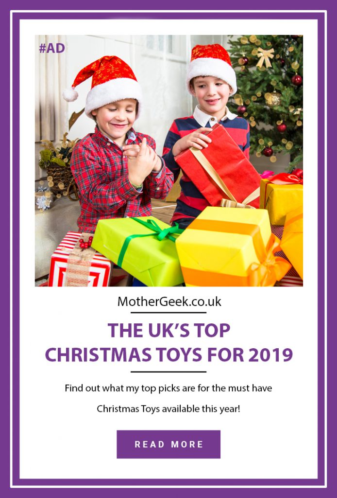 UK Top Christmas Toys For 2019 Pinterest pin showing kids opening presents