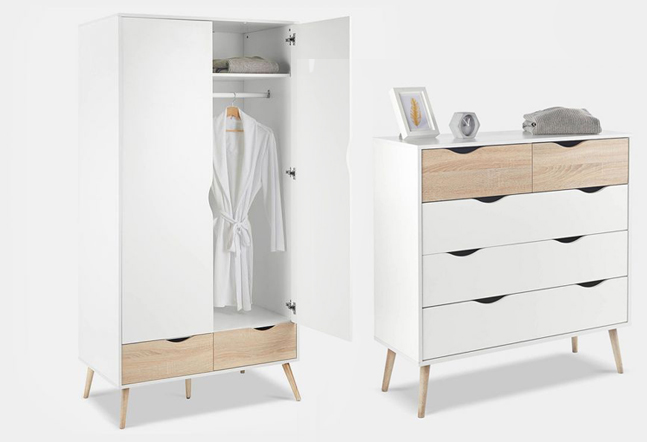 retro bedroom furniture - wardrobe and drawers