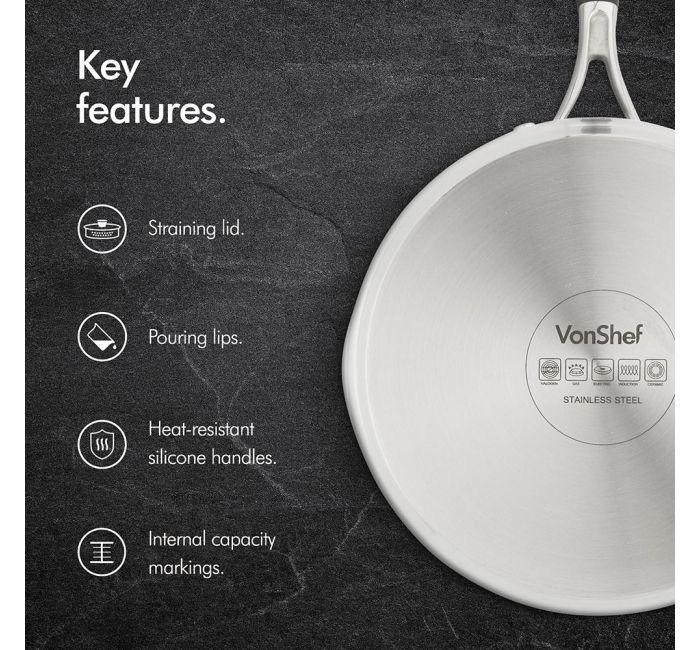 VonShef 3 piece stainless steel pan set information