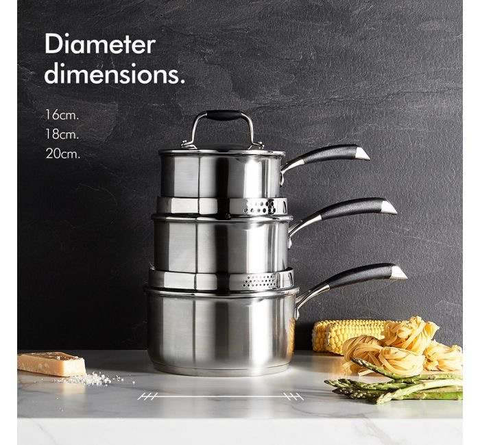 VonShef 3 piece stainless steel pan set stacked up on worktop