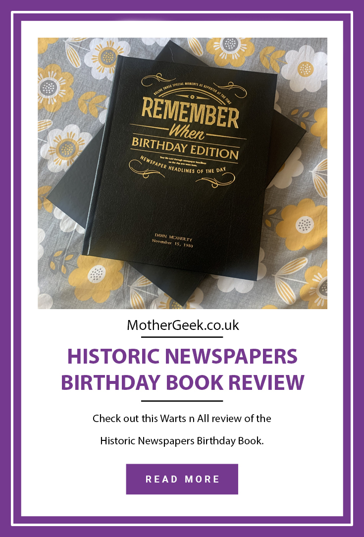 Historic Newspapers Birthday Book review Pinterest pin