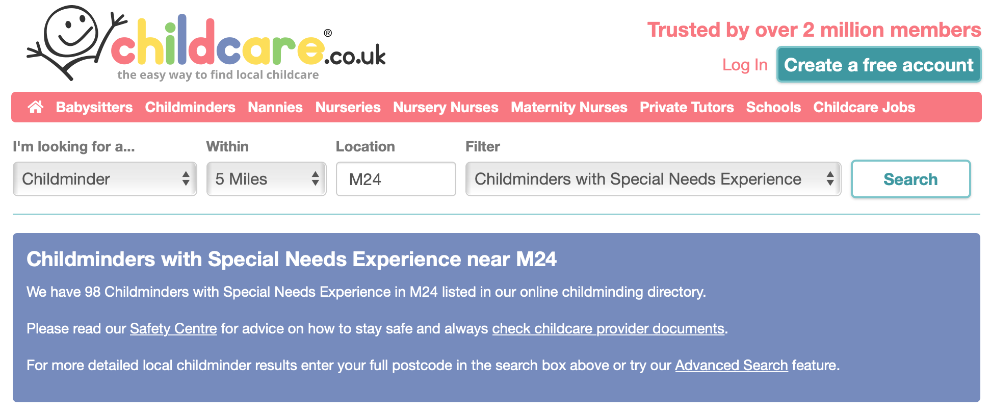 screenshot from childcare.co.uk which I used when finding special needs childcare in my area