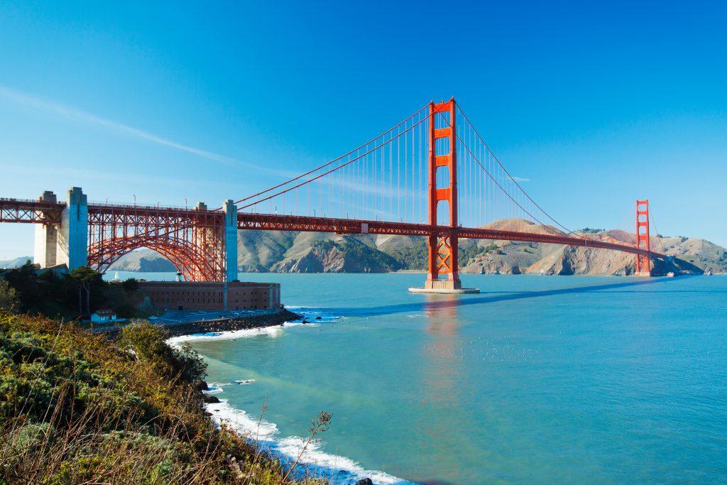 San Francisco Golden Gate Bridge and ocean
