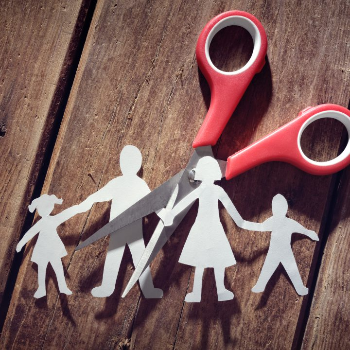 how to maintain a healthy parent child relationship after divorce - Divorce and child custody scissors cutting family apart