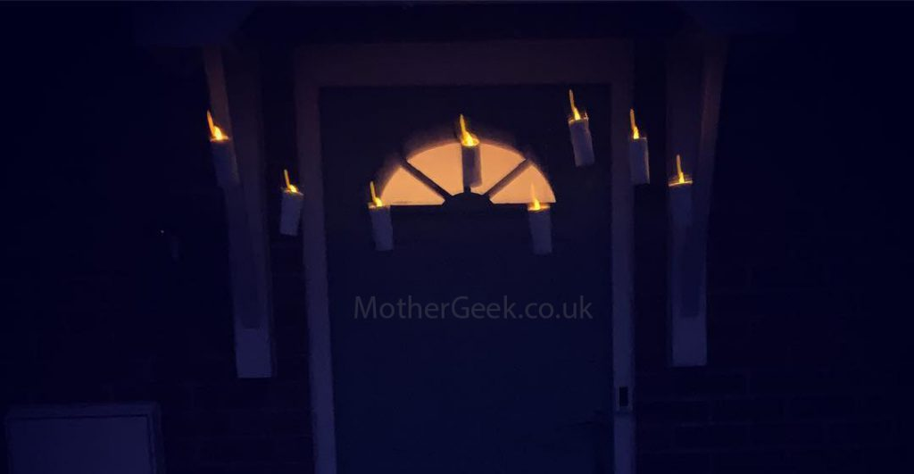 Harry Potter Style Floating Candles hung outside the front door