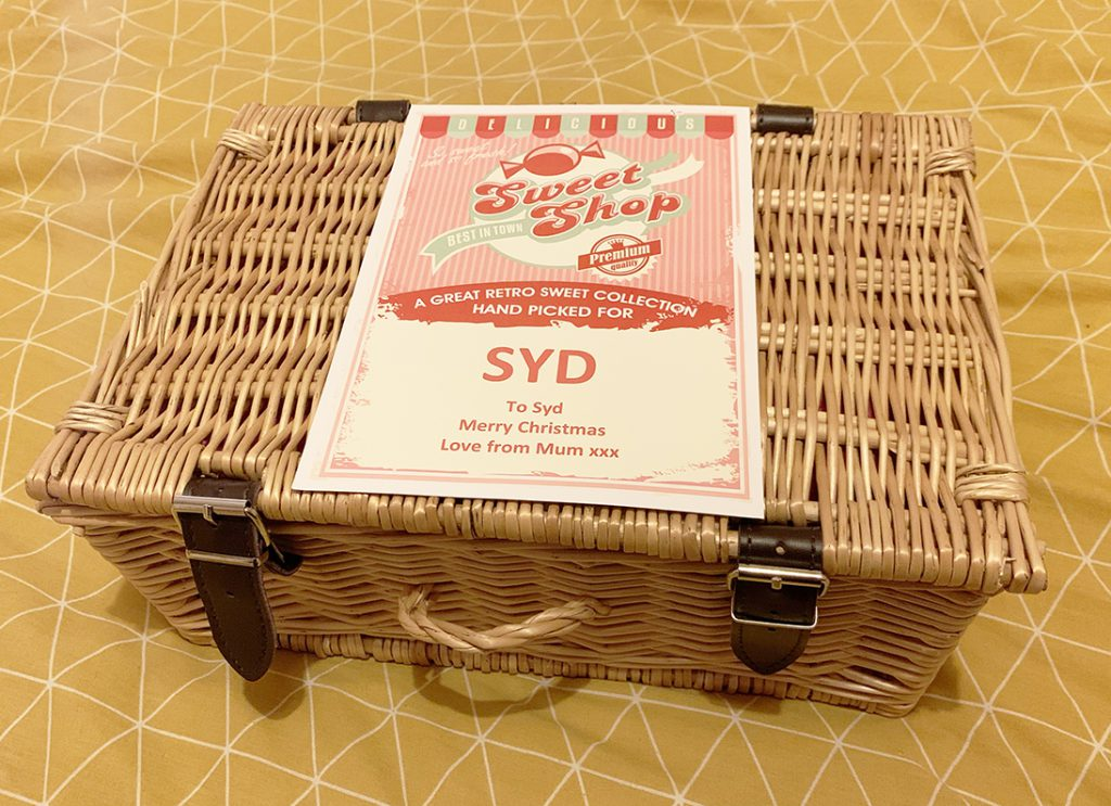 pre-wrapped ship direct Christmas gift ideas - personalised sweet hamper in wicker basket