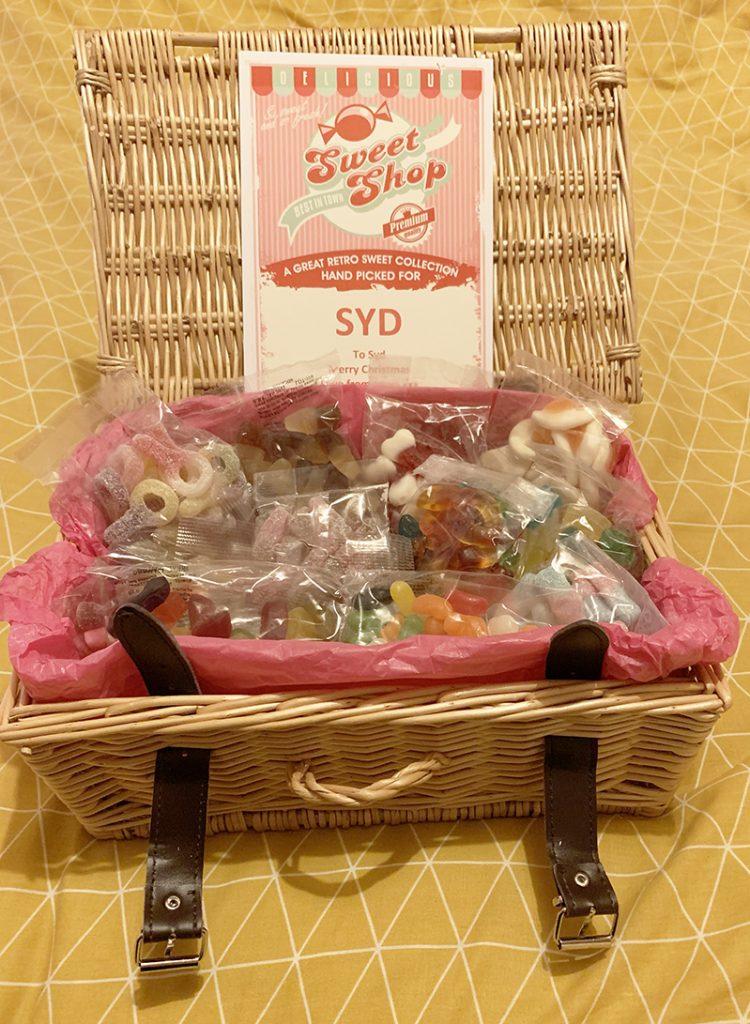 personalised sweet hamper in wicker basket