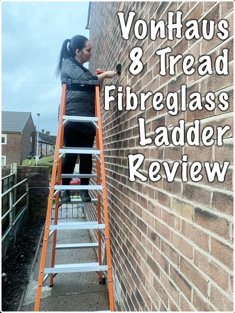 using the VonHaus 8 Tread Fibreglass Ladder to fit a security light