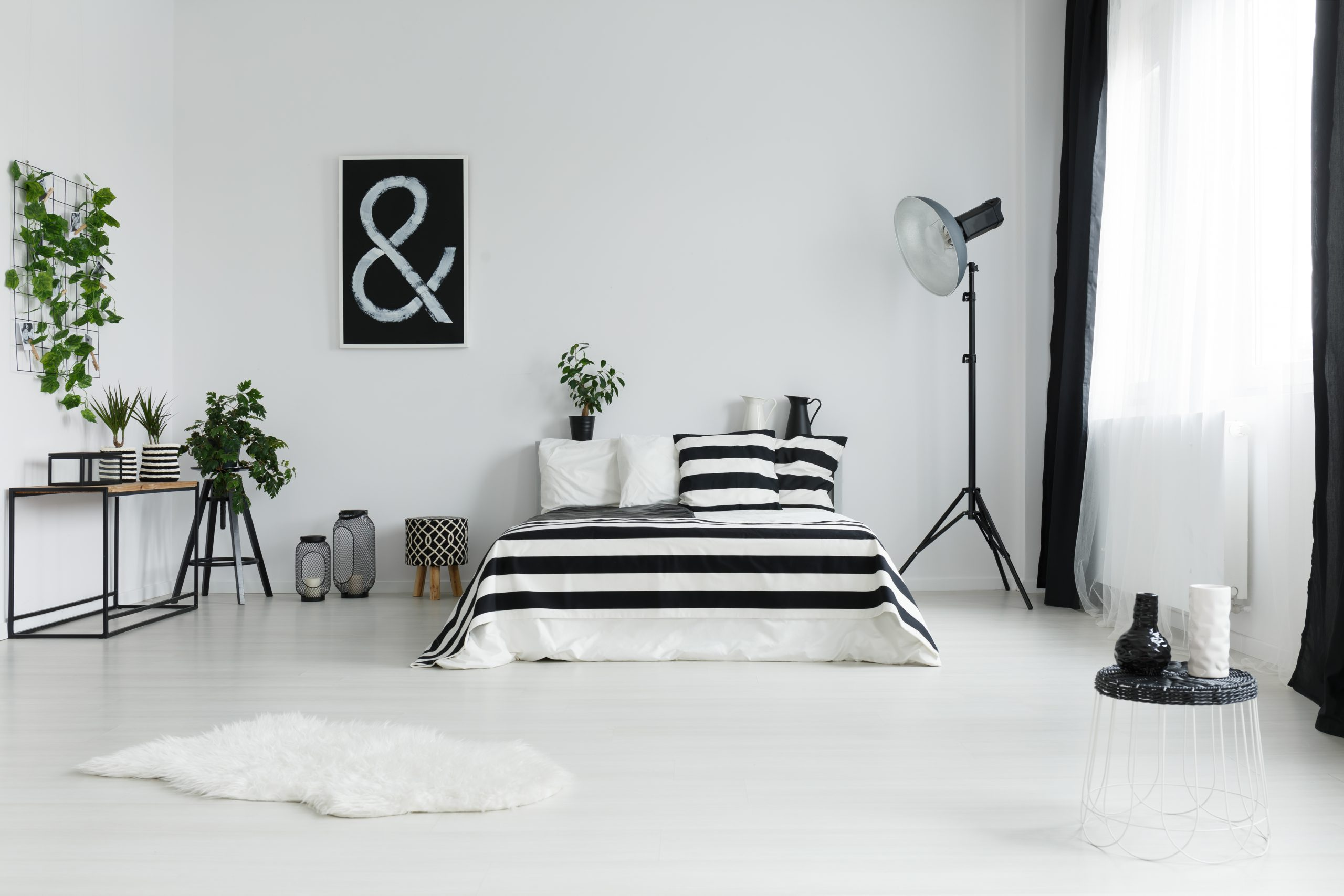 Minimalist bedroom with fur rug and black and white decorations