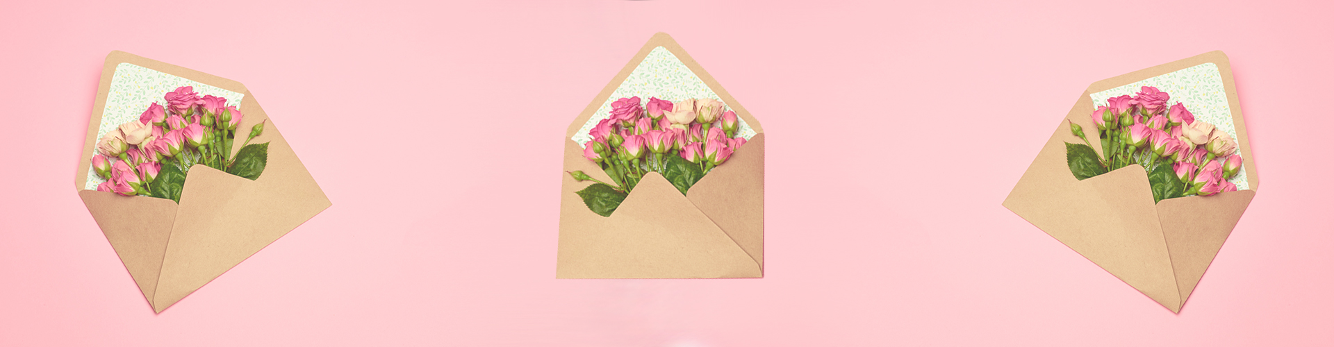 roses tucked inside an envelope with pink background