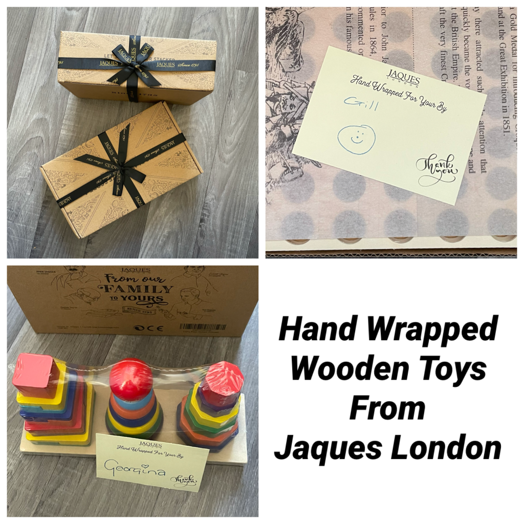 Hand Wrapped wooden toys from Jaques London