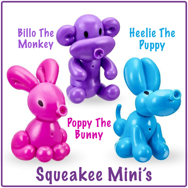 all 3 Squeaky Mini's review characters in one photo