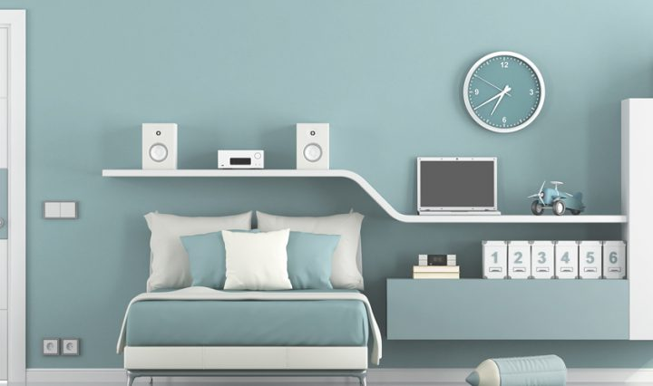 tween bedroom ideas - blue walls, white furniture