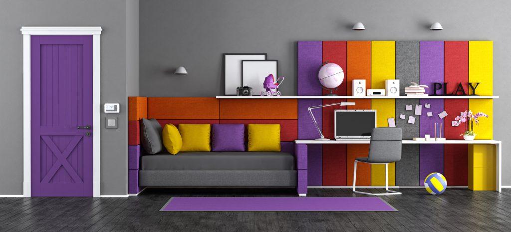 Colourful tween bedroom